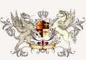 Fotografia disegno araldico con griffin e cavallo