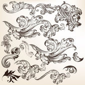 Fotografie Collection of floral decorative vector swirls for design