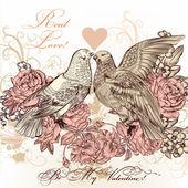 Fotografia cartolina di San Valentino moda con uccelli e Rose in stile vintage