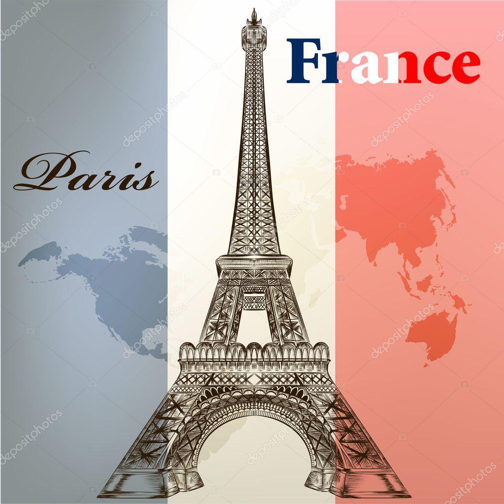 Kunst Vector Conceptuele Achtergrond Met Eiffeltoren En Frankrijk F Stockvector