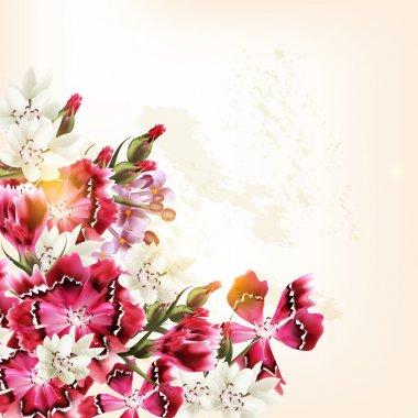 Beautiful vector pattern with pink flowers