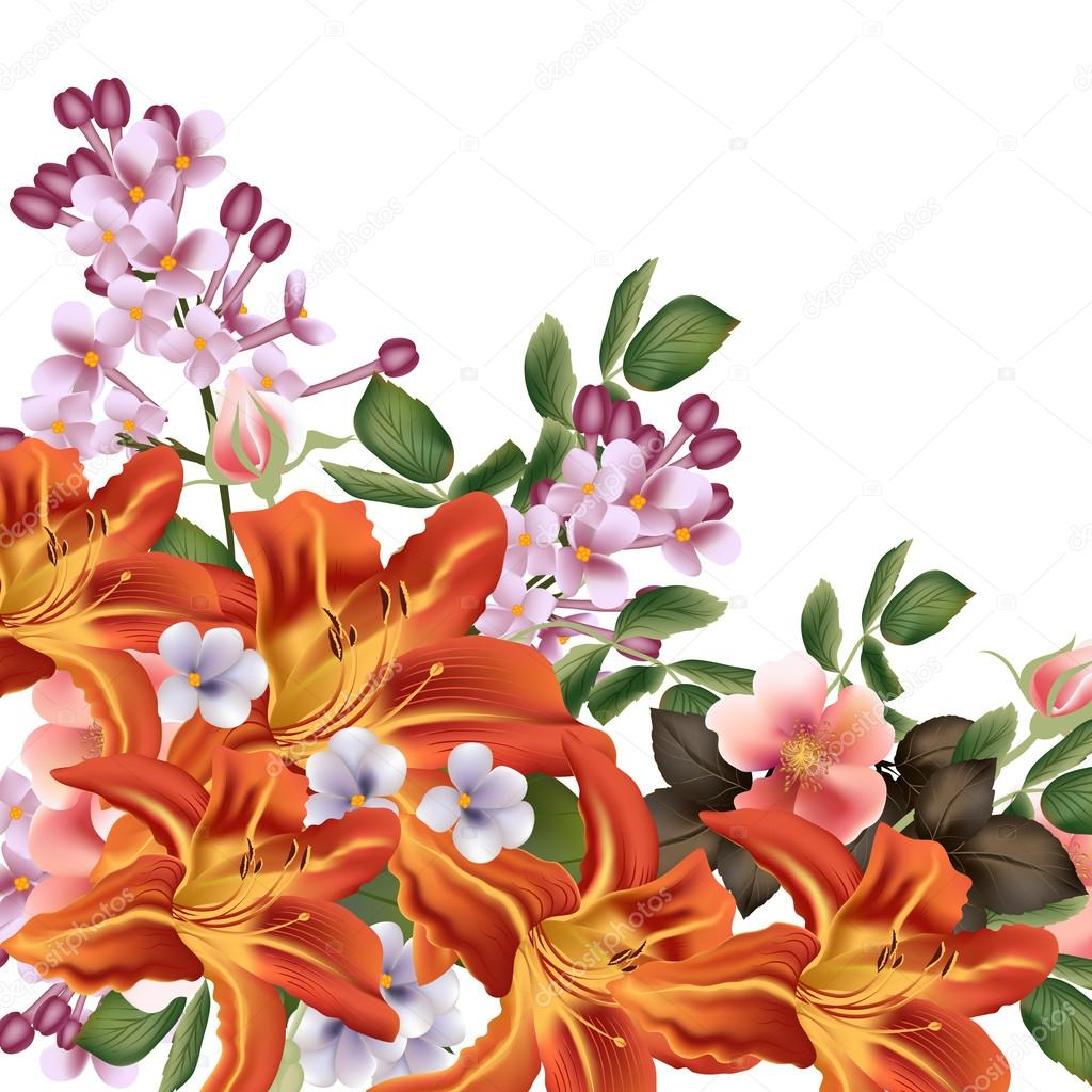 Beautiful  vector background  with detailed flowers