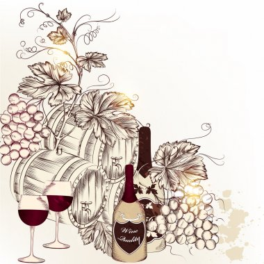Background with  vector hand drawn  wine, grape and glasses
