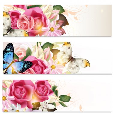 Business cards set with flowers  for design