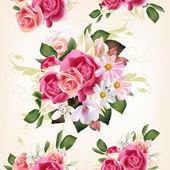 Fotografia motivo floreale senza soluzione di continuità con rose e fiori