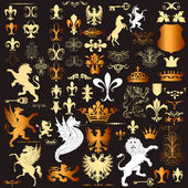 Fotografie Collection of vector heraldic elements for design
