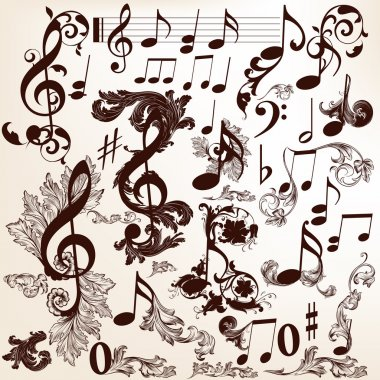 Collection of vector decorative music elements with swirls and t