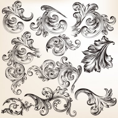 Collection of vector decorative vintage swirls for design
