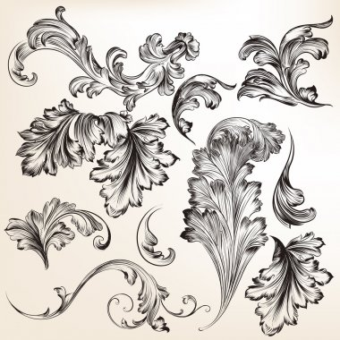 Set of vector hand drawn swirl flourishes for design