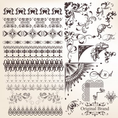 Collection of vector decorative elements borders and frames