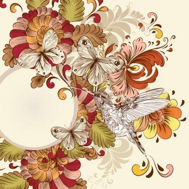 Floral vector design with swirl element, butterflies and bird