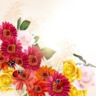 Floral background with herbier flowers and roses