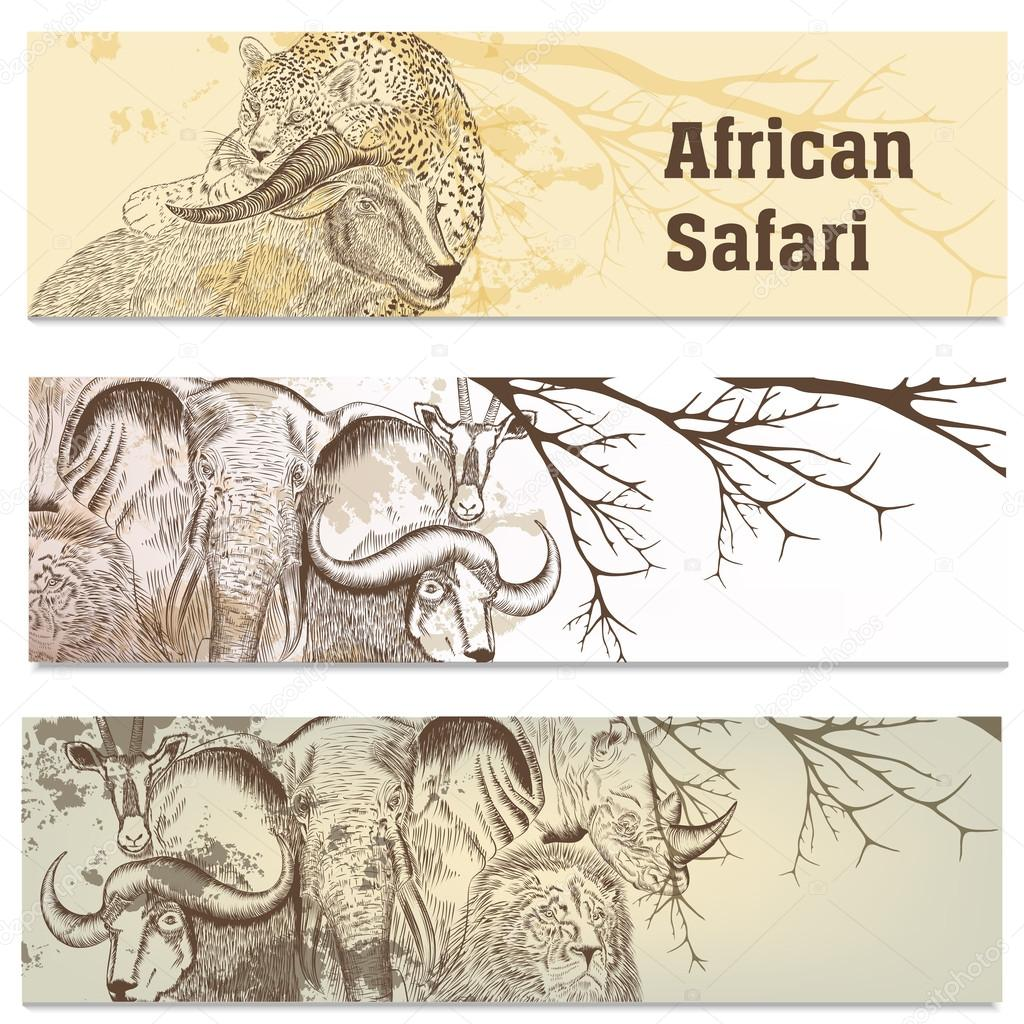 Business cards set in African safari style