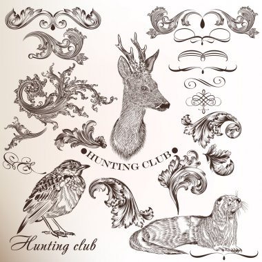 Set of hand drawn elements for hunting design