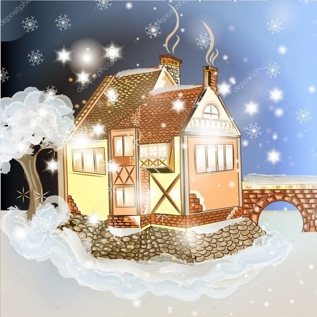 Abend Weihnachten Szene mit Haus im Schnee — Stockvektor ...