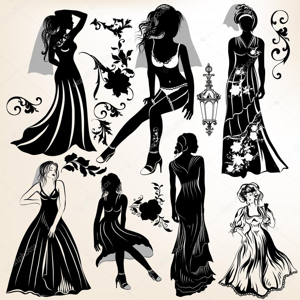 Collection of wedding silhouettes and elements