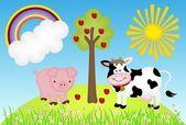 Ilustrace farmu s krav a prasat