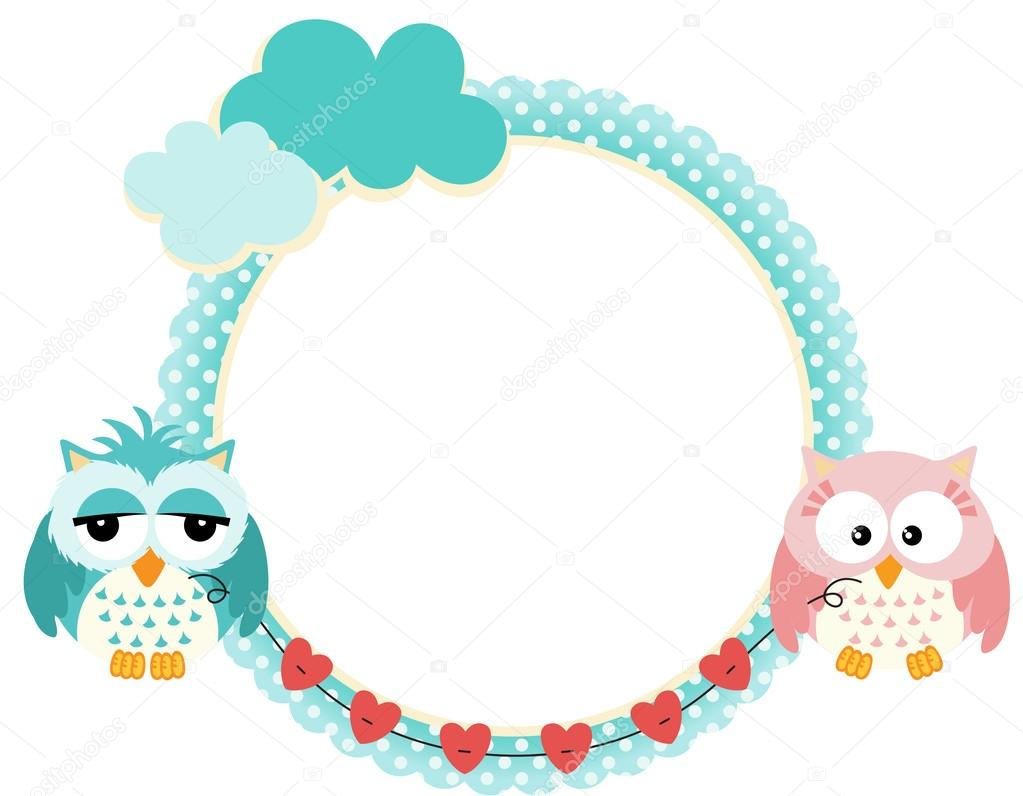 Cute frame with owls couple — Stock Vector © socris79 #25819557