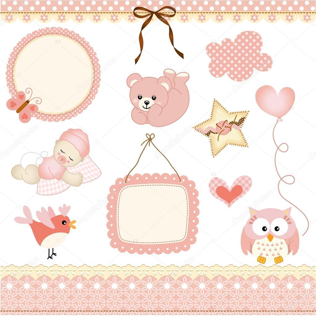 baby girl design elements stock vector socris79 25947057. Black Bedroom Furniture Sets. Home Design Ideas