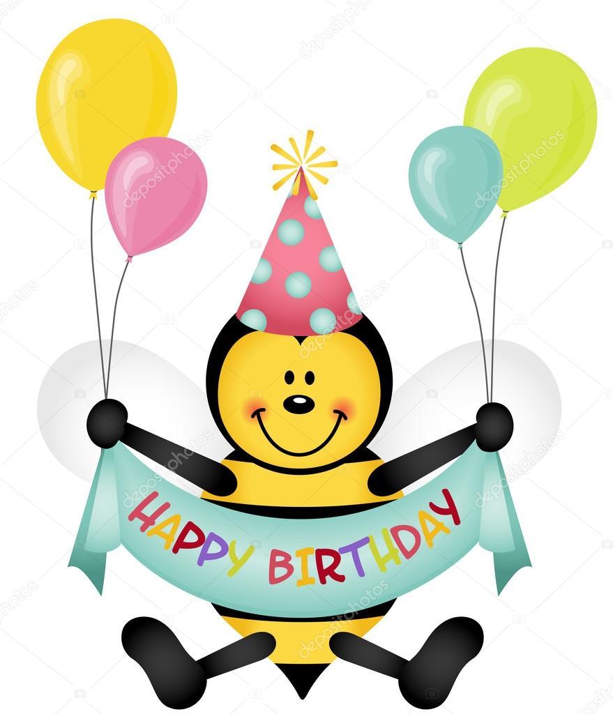 Надписями думай, открытка с пчелкой день рождения
