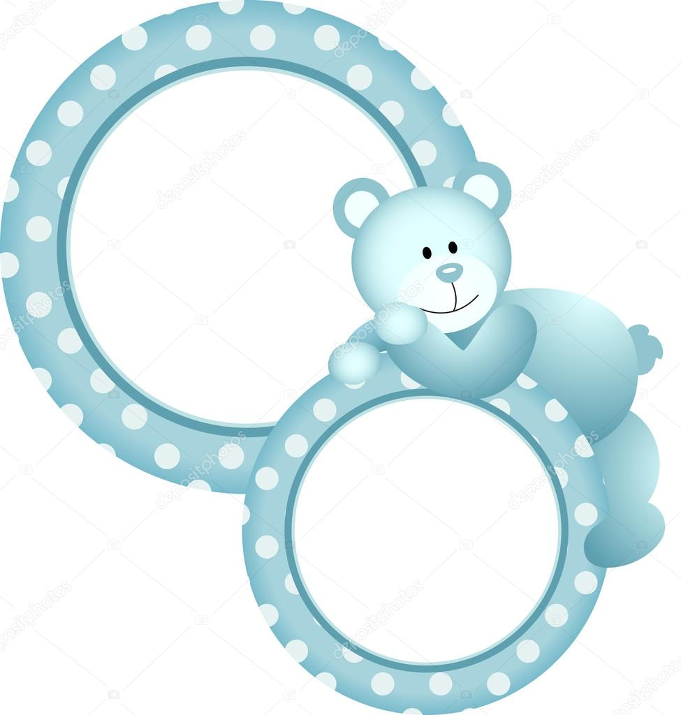 Baby boy round frame teddy bear — Stock Vector © socris79 #32595661