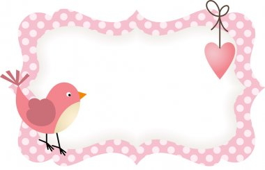 Pink Bird Heart Blank Label