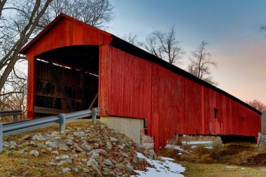 Oakalla Covered Bridge Midwinter at Sundown