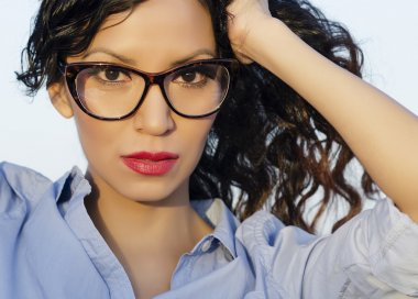 Woman wearing retro vintage eye glasses
