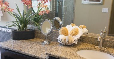 Modern stylish granite bathroom vanity counter top