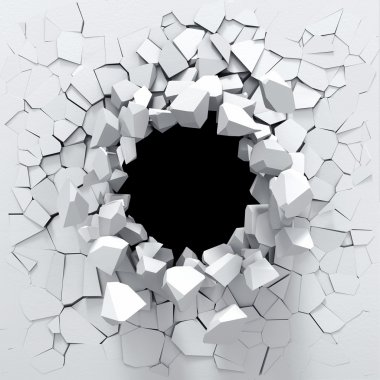 Black hole in the white wall stock vector