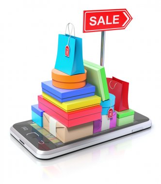 Smartphone with shopping stuff, GPS map and signpost