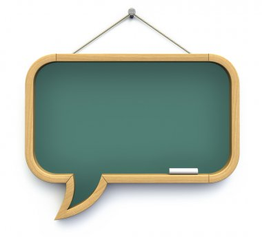 Blackboard shaped as speech bubble - 3D illustration stock vector