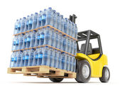 Photo Forklift with water PET bottles
