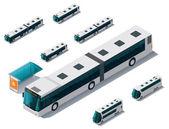 Fotografia set di autobus isometrica vettoriale