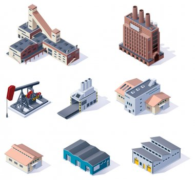 Set of detailed isometric generic plants and factories stock vector