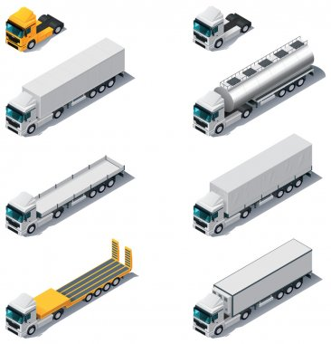 Vector isometric transport. Trucks with semi-trail