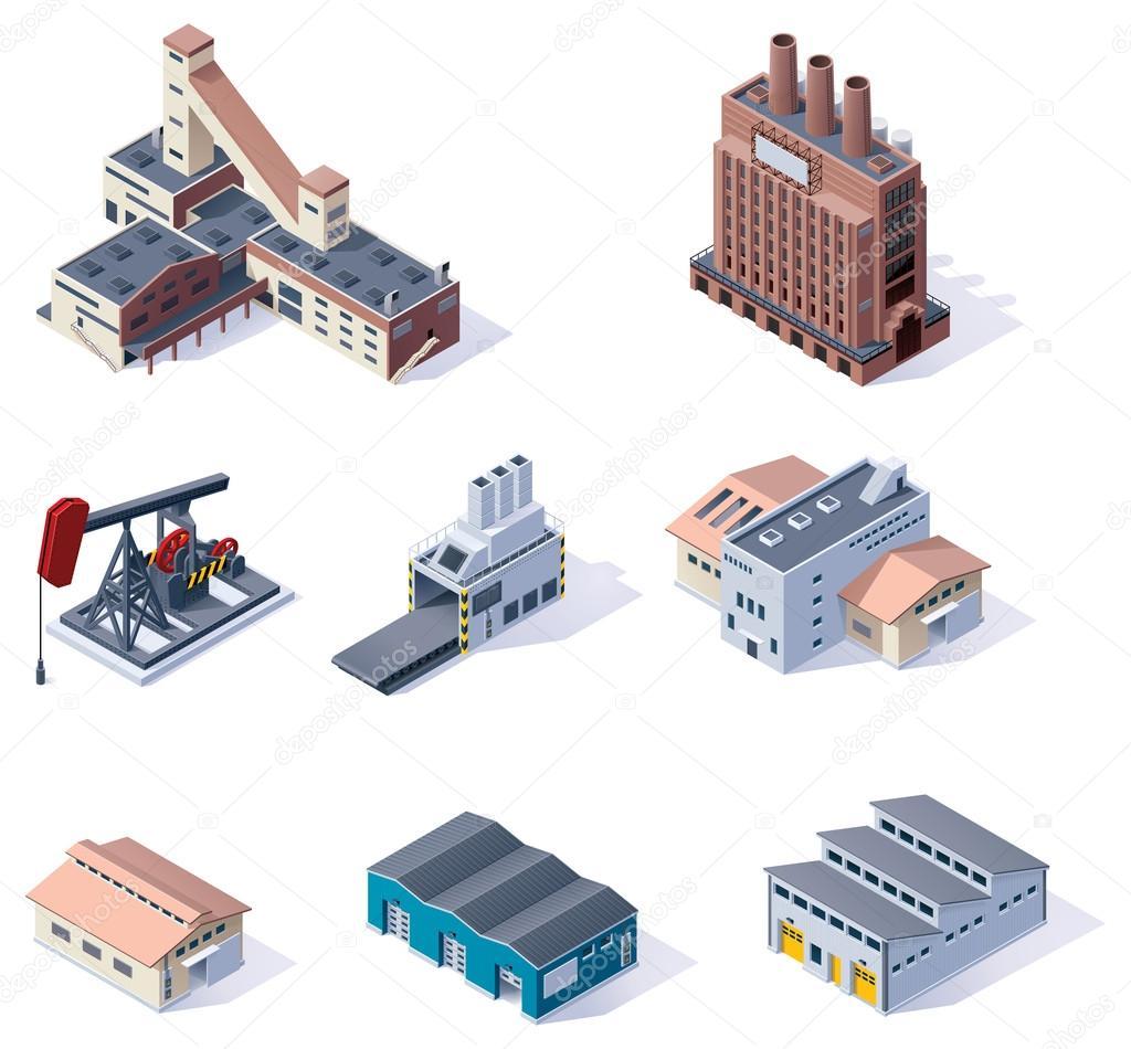 Vector isometric buildings. Industrial