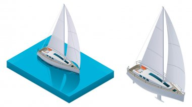Vector isometric yacht