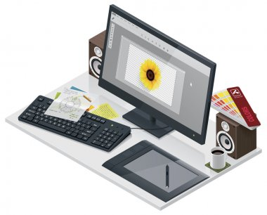 Vector visual artist workplace
