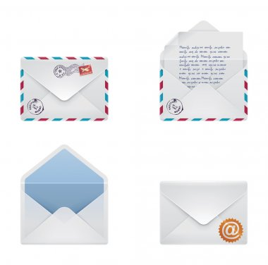Set of detailed envelopes - sealed, open and with letter inside stock vector