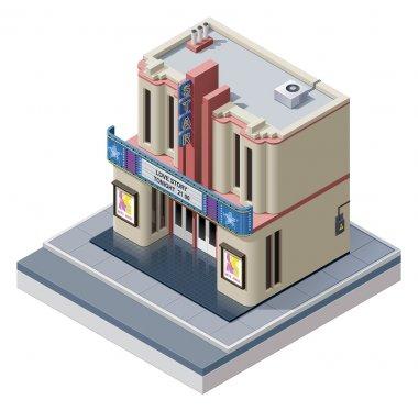 Vector isometric cinema building