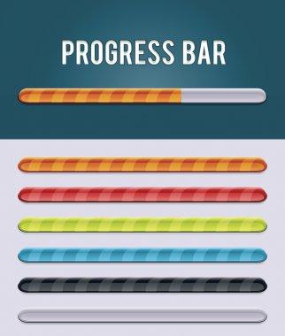 Set of glassy progress bars in different colors clip art vector