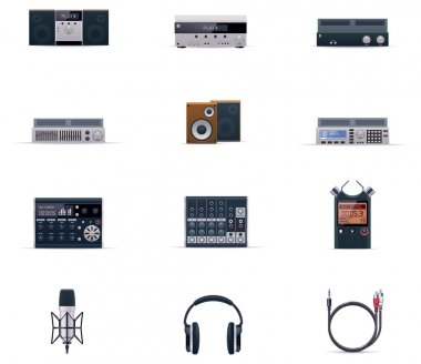Vector audio electronics icon set