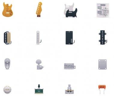 Vector guitar parts icon set