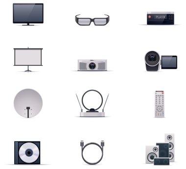Vector video electronics icon set