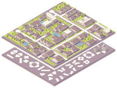 Photo Isometric small town map creation kit
