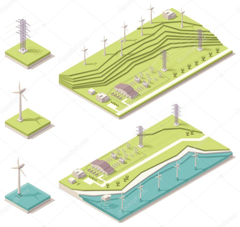 Isometric wind farm