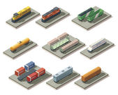 Photo Isometric trains and cars