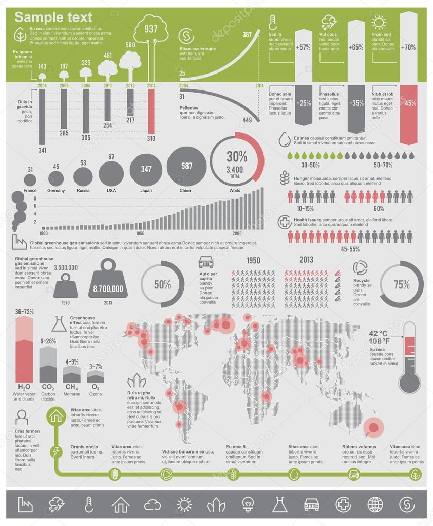 Vector environmental problems infographic elements
