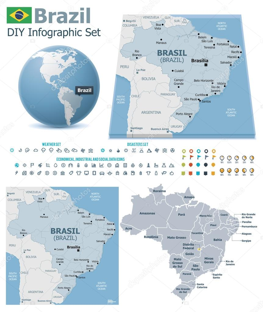Federative Republic Of Brazil Maps With Markers Stock Vector - Federative republic of brazil map